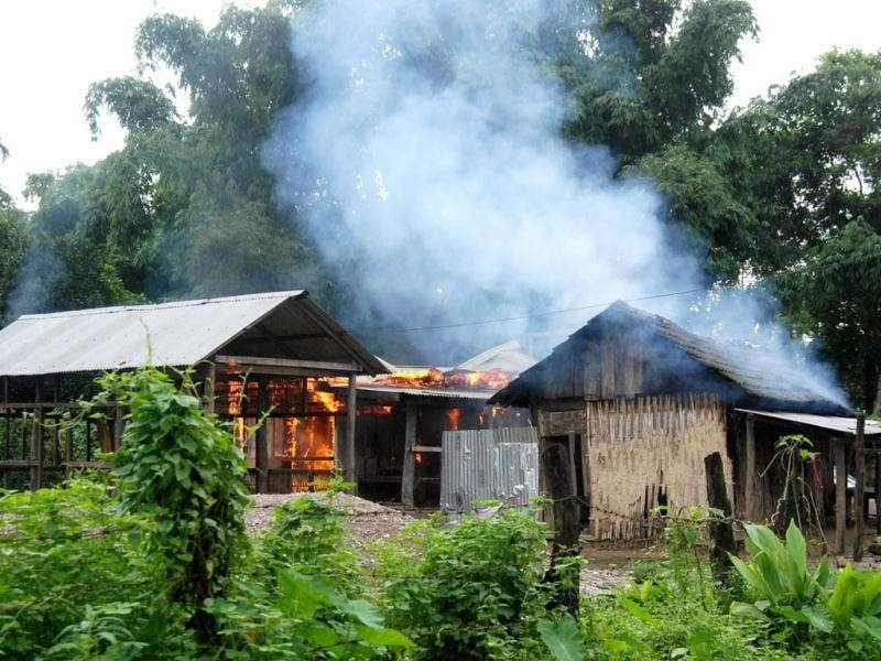A house burns at Kachugaon village in Kokrajhar district, about 230 kms from Guwahati, the capital city of Assam during violent clashes. AFP Photo, File