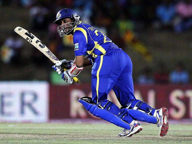 Sri Lanka's Tillakaratne Dilshan plays a shot during their second one-day international (ODI) cricket match against India, in Hambantota. Reuters Photo/Dinuka Liyanawatte