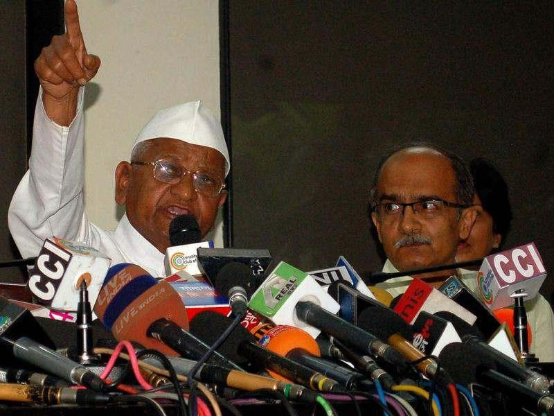 Anti-corruption activist Anna Hazare addressing media persons on the eve of an indefinite fast by him and associates against corruption, at Jantar Mantar, in New Delhi. (Agencies)