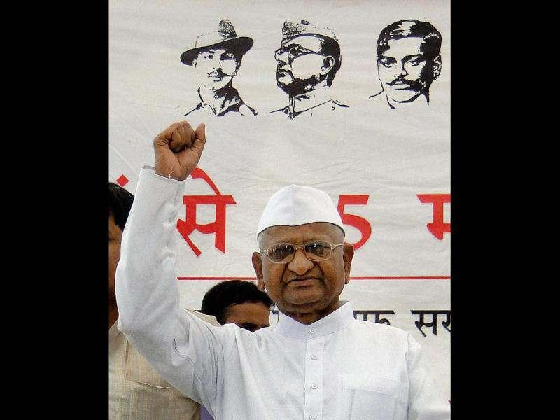 Anna Hazare addresses his supporters in Ghaziabad. (PTI Photo)