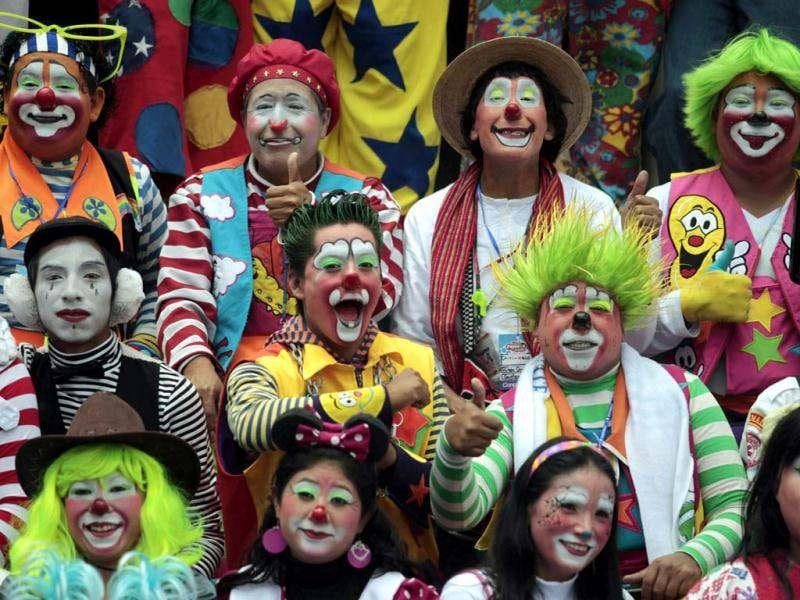 Clowns pose for a picture after the inauguration parade of the 4th Latin America clown congress in the Central Place of Guatemala City. Reuters/Jorge Dan Lopez