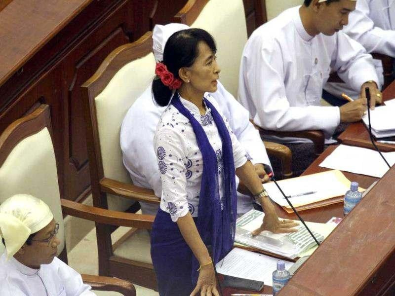 Myanmar's Opposition leader Aung San Suu Kyi asks a question during a regular session of the parliament at Myanmar Lower House in Naypyitaw, Myanmar. AP/Khin Maung Win