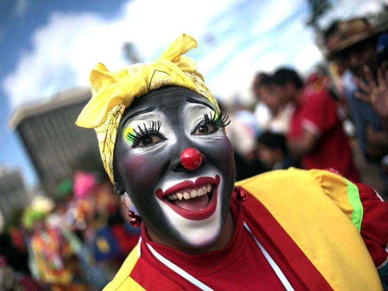 A clown poses for a picture during the 4th Latin America Clown Congress in Guatemala City. Reuters/Jorge Dan Lopez