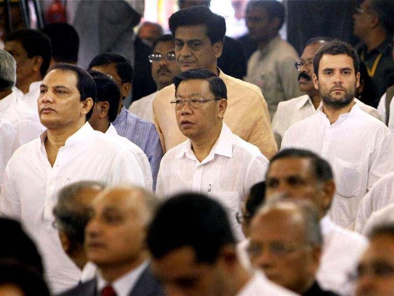 AICC general secretary Rahul Gandhi, Congress MP Azharuddin and other dignitaries during President Pranab Mukherjee's swearing-in ceremony in the Central Hall of Parliament in New Delhi. PTI Photo