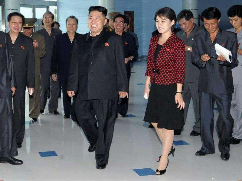 North Korean leader Kim Jong-Un accompanied by his wife Ri Sol-Ju inspects the Rungna People's Pleasure Ground in Pyongyang. AP/Korea News Service