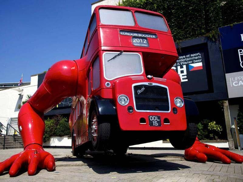 A picture shows David Cerny's double-decker bus art installation