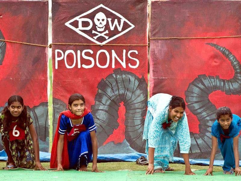 Disabled children suffering the effects of the 1984 Bhopal disaster get ready to participate in a 25 meter sprint during a Special Olympics in Bhopal. The event has been organised to protest against London 2012 sponsor Dow Chemical. AFP photo/Prakash Singh