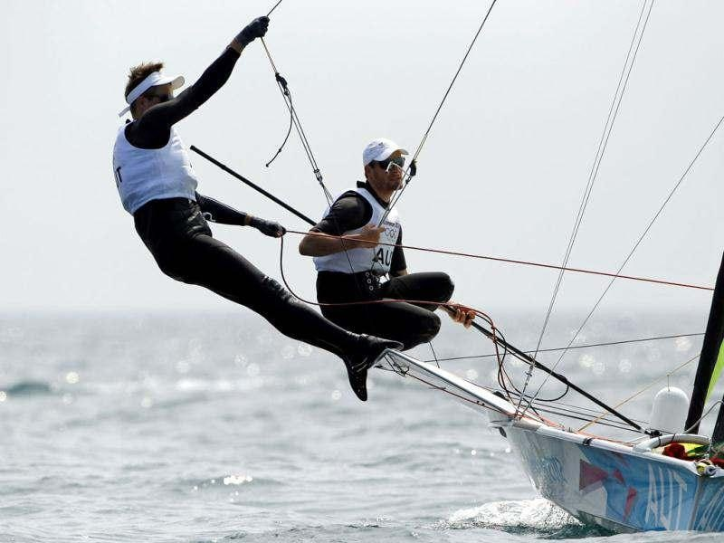 Nico Delle-Karth and Nikolaus Resch of Austria sail in the 49er class during a practice session ahead of the start of the London 2012 Olympic Games in Weymouth and Portland, southern England. (Reuters/Benoit Tessier)