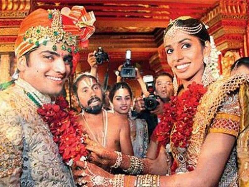 Siddharth Reddy and Mallika ReddyYear: 2011Venue: HyderabadCost: R100 croreThe wedding mandap of the Reddys - GVK Group's GV Krishna Reddy's granddaughter Mallika and Siddharth, the son of Indu Group's Indukuri Syam Prasad Reddy - was the creation of designers Abu Jani and Sandeep Khosla. Real jasmines were incorporated as chandeliers