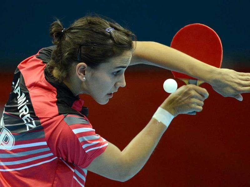 Sara Ramirez of Spain serves to Ankita Das of India (unpictured) during a table tennis women's singles preliminary round match at the Excel centre in London during the London 2012 Olympic Games. AFP Photo/Saeed Khan