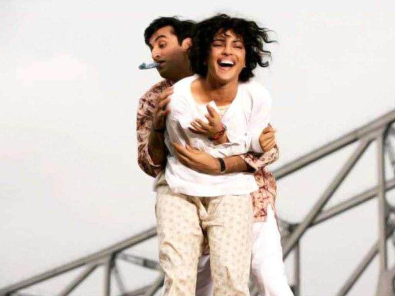 Actors Ranbir Kapoor and Priyanka Chopra in a still from their upcoming rom-com Barfi! The film is directed by Anurag Basu.
