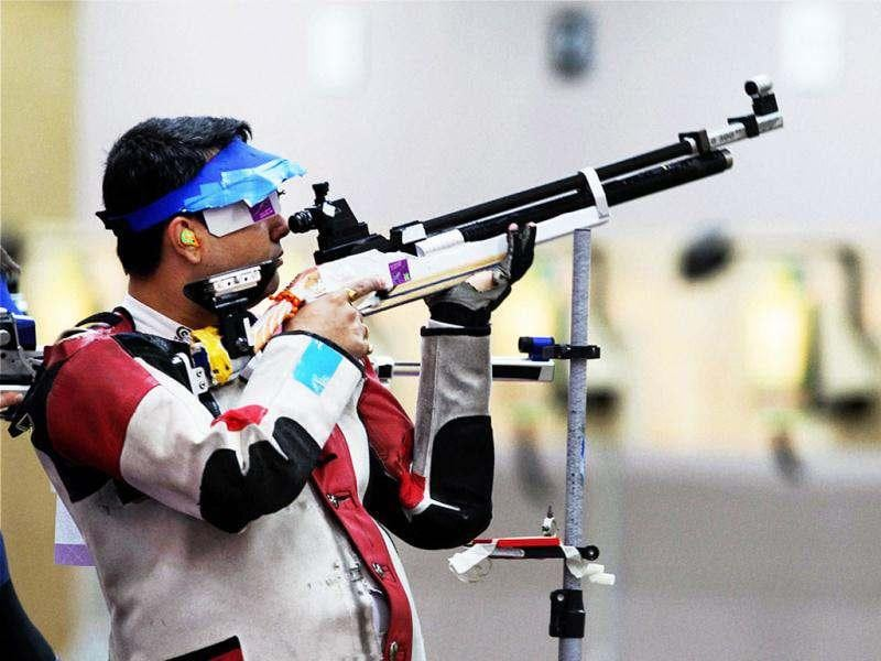 India's Gagan Narang competes in the qualification round of 10m Air Rifle shooting event at the Olympic Games 2012 in London. (PTI/ Manvender Vashist)