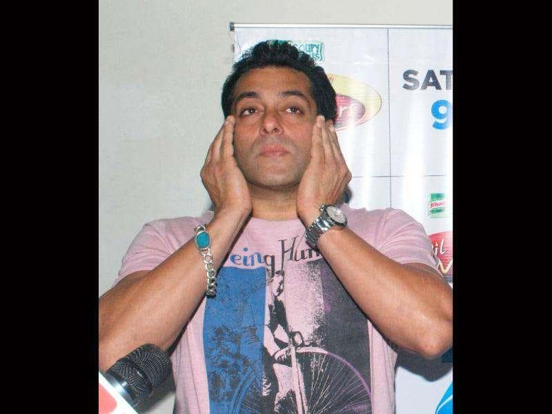 Fully Fed Up: Salman Khan acts dramatic at the event.