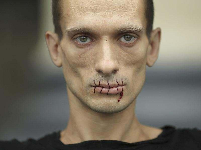 Artist Pyotr Pavlensky, a supporter of jailed members of female punk band