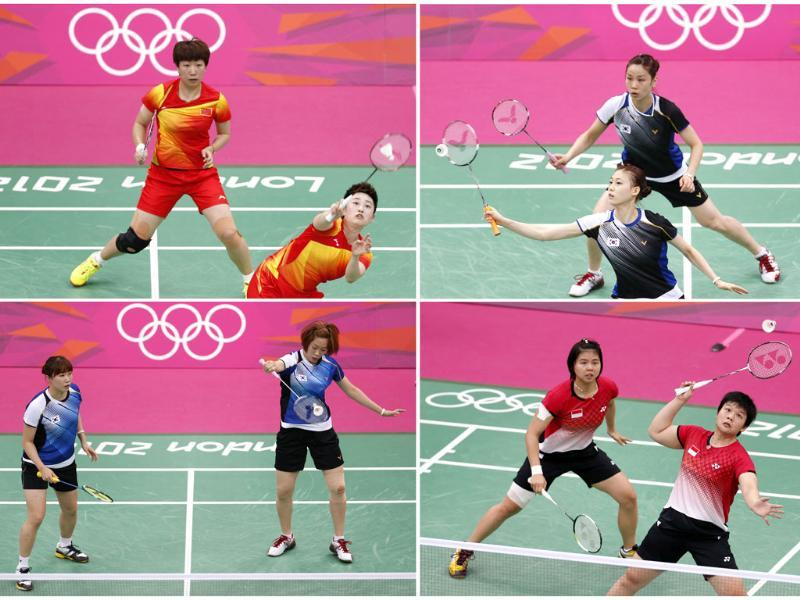 Combination photo shows the women's doubles pair of (clockwise from top left) China's Wang Xiaoli (L) and Yang Yu, South Korea's Jung Kyung Eun (Top) and Kim Ha Na, Indonesia's Greysia Polii and Meiliana Jauhari and South Korea's Ha Jung-eun (L) and Kim Min-jung during their matches during the London 2012 Olympics. (Reuters/Bazuki Muhummad/Files)