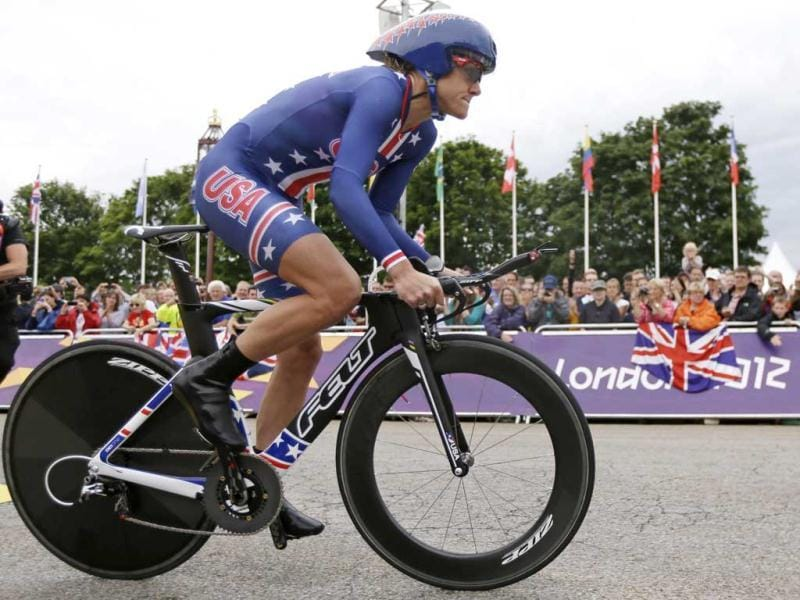 Gold medalist Kristin Armstrong, of the United States, takes the start on her way to win the women's individual time trial event at the 2012 Summer Olympics in London. AP Photo/Matt Rourke