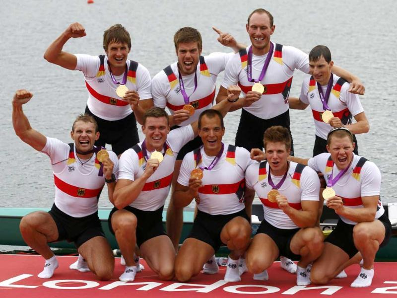 Team Germany poses with their gold medals after winning the men's eight Final A at Eton Dorney during the London 2012 Olympic Games. Reuters/Kai Pfaffenbach
