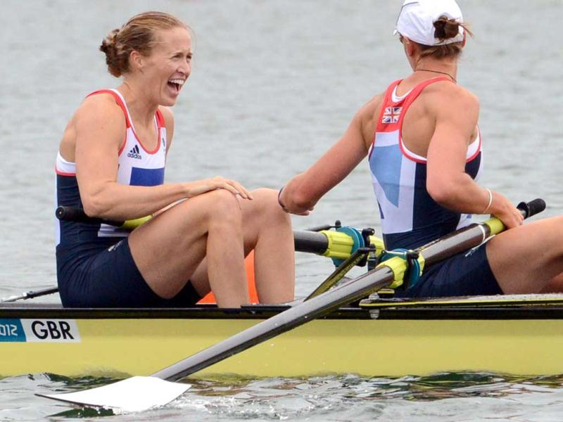 Great Britain's Heather Stanning, right, and Helen Glover celebrate after winning the gold medal for the women's rowing pair in Eton Dorney, near Windsor, England, at the 2012 Summer Olympics. AP Photo/Damien Meyer