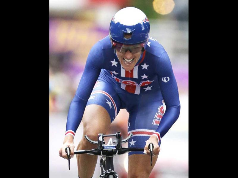 Gold medalist Kristin Armstrong, of the United States, competes in the women's individual time trial cycling event at the 2012 Summer Olympics in London. AP Photo/Sergey Ponomarev