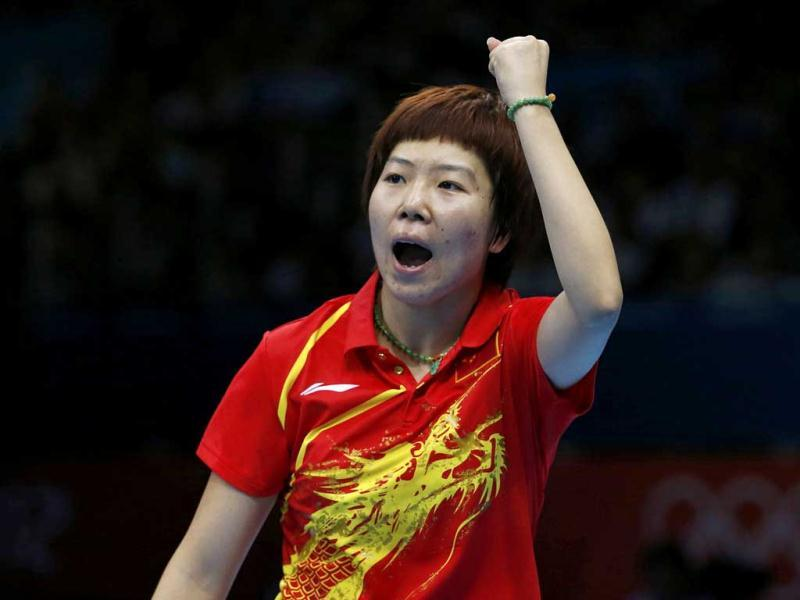 China's Li Xiaoxia celebrates a point against China's Ding Ning in their women's singles gold medal table tennis match at the ExCel venue during the London 2012 Olympic Games. Reuters/Adrees Latif