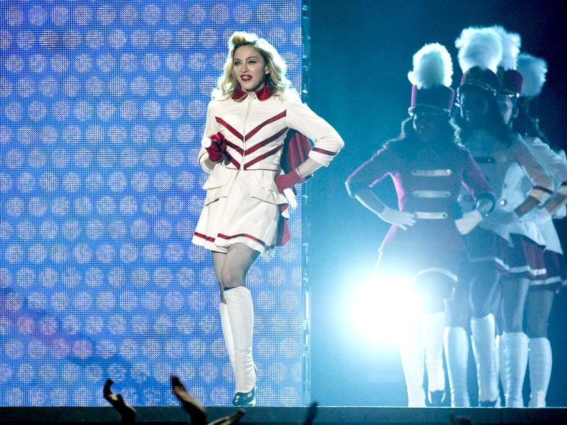 US pop singer Madonna performs on stage during her MDNA tour at the National Stadium in Warsaw. Reuters photo/Kacper Pempel