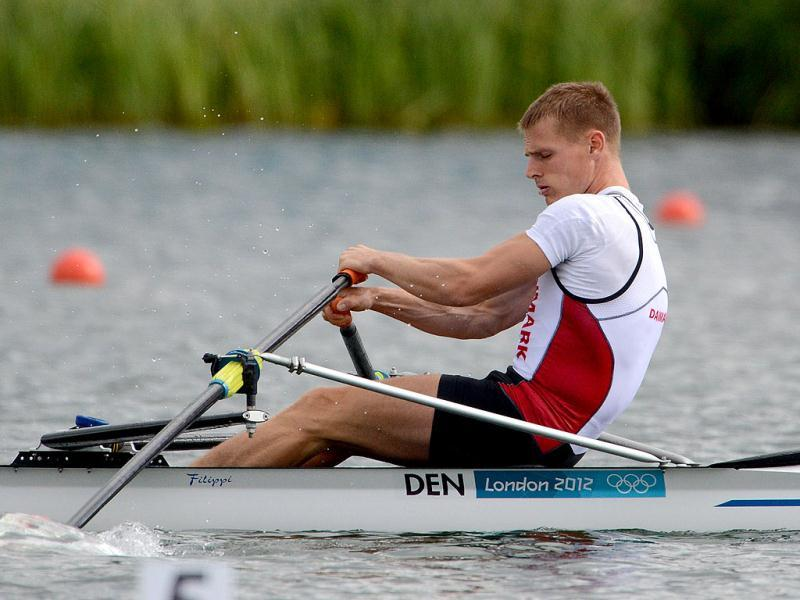 Denmark's Henrik Stephansen competes to win the men's single sculls final C of the rowing event during the London 2012 Olympic Games, at Eton Dorney Rowing Centre in Eton, west of London. AFP Photo/Damien Meyer