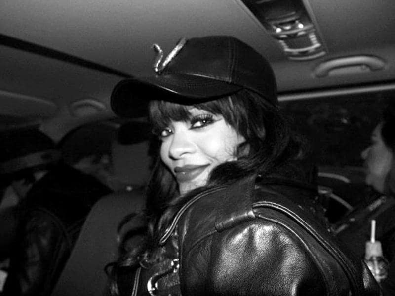 Rihanna is all smiles.