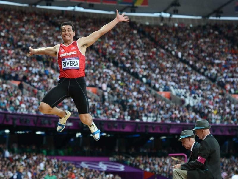 Mexico's Luis Rivera competes in the men's long jump qualifying rounds at the athletics event during the London 2012 Olympic Games in London. AFP Photo/Franck Fife