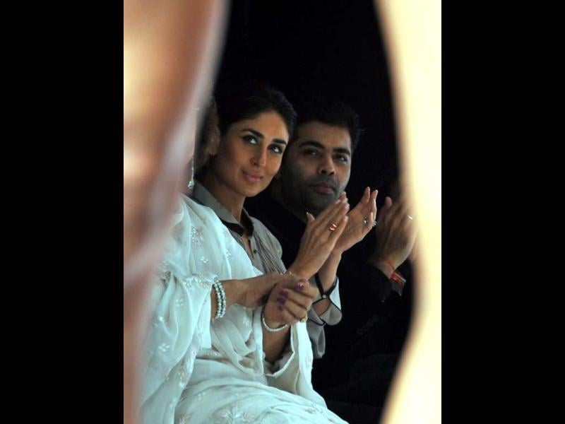 Cheer leader: Kareena Kapoor looks pleased during the ramp show. (AFP Photo)