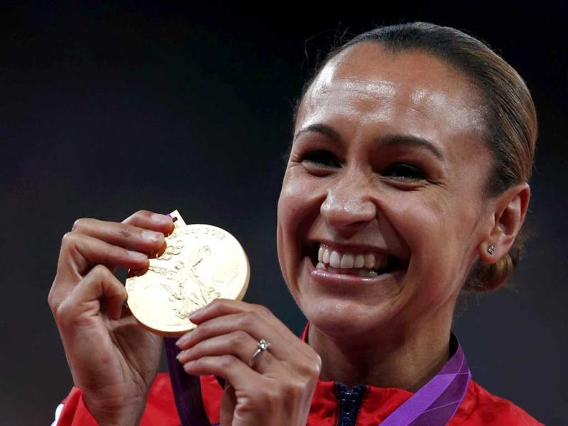 Gold medallist Britain's Jessica Ennis poses at the women's heptathlon victory ceremony during the London 2012 Olympic Games at the Olympic Stadium. Reuters