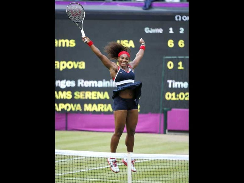 Serena Williams of the US celebrates after winning the women's singles gold medal match against Russia's Maria Sharapova at the All England Lawn Tennis Club during the London 2012 Olympic Games. Reuters/Mike Blake