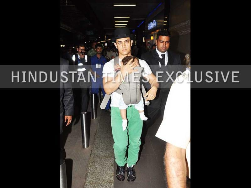 While onlookers were keen to catch a glimpse of the baby, Aamir, too, turned heads in green pants and a hat, with many tweeting that the actor is already in the look for his new film.
