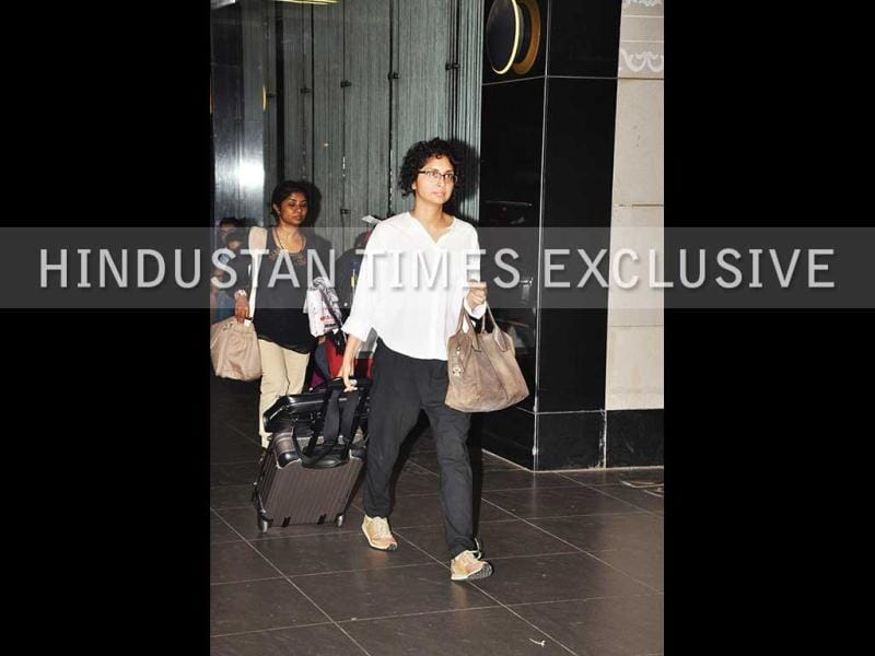 Aamir Khan's wife Kiran Rao followed in a white shirt and black trousers.