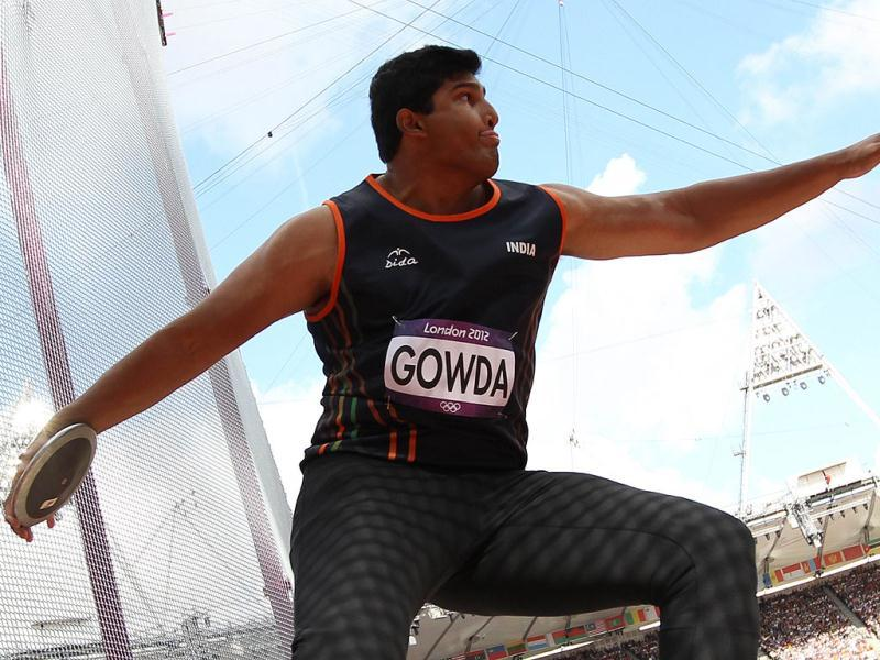 Vikas Gowda competes in the men's discus throw qualifications at the athletics event of the London 2012 Olympic Games in London. AFP Photo/ Adrian Dennis