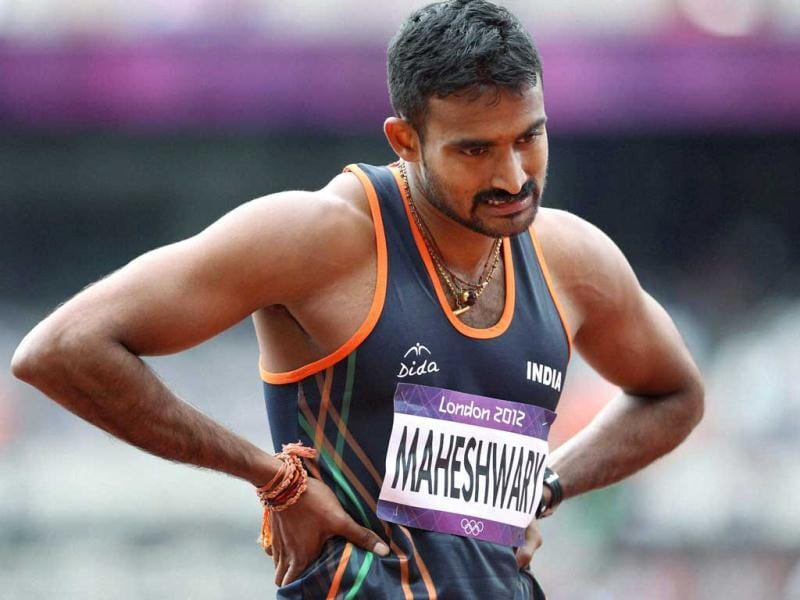 India's Renjith Maheshwary reacts after his third foul in a row during Men's Triple Jump qualification round at the Olympic Games in London. (PTI Photo by Manvender Vashist)