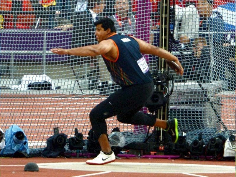 India's Vikas Gowda competes in the men's discus Throw final during athletics competitions at the 2012 Summer Olympics at the Olympic Stadium in London. (PTI Photo by Manvender Vashist)