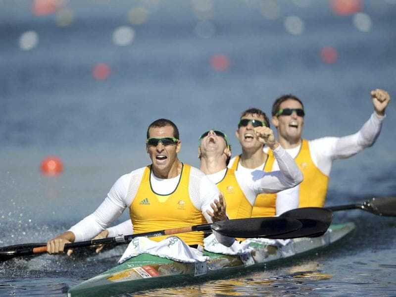 Australia's Tate Smith, David Smith, Murray Stewart and Jacob Clear celebrate winning the men's kayak four (K4) 1000m finals at Eton Dorney during the London 2012 Olympics Games. Reuters/Harry How/Pool