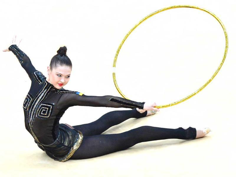 Ukraine's Alina Maksymenko performs her hoop program at Wembley arena in London. AFP/Ben Stansall