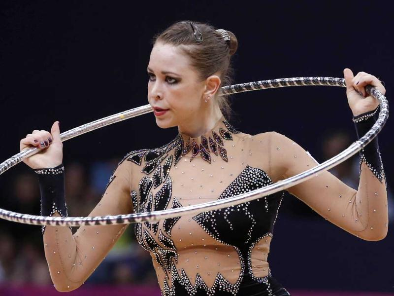 Britain's Francesca Jones performs her hoop program during the individual all-around qualifications of the rhythmic gymnastics event of the London Olympic Games at Wembley arena in London. AFP/Thomas Coex