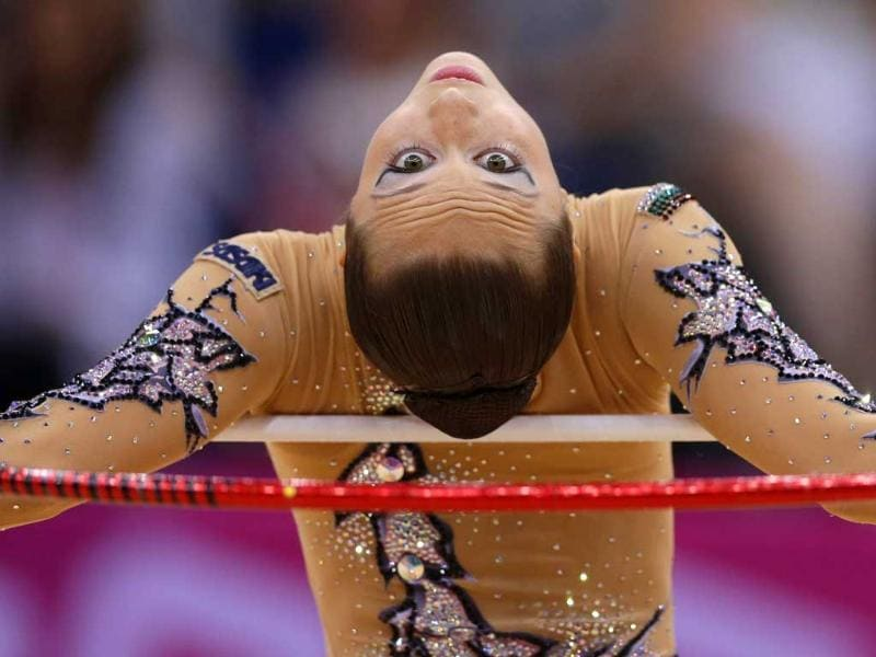 Bulgaria's Silviya Miteva performs during the rhythmic gymnastics individual all-around qualifications at the 2012 Summer Olympics in London. AP/Gregory Bull