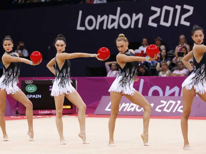 Team Spain performs during the group all-around qualification of the rhythmic gymnastics event of the London Olympic Games at Wembley arena in London. AFP/Thomas Coex
