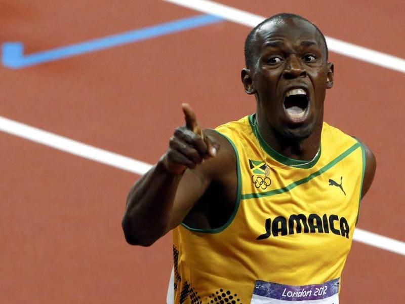 Jamaica's Usain Bolt reacts after winning the men's 200m final during the London 2012 Olympic Games at the Olympic Stadium. Reuters/David Gray