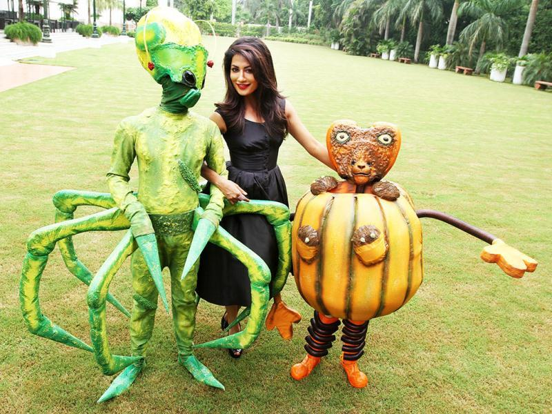 In the mood for mischief: Chitrangda Singh with the aliens from Joker