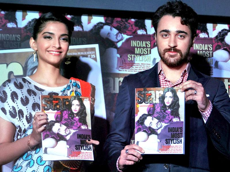 Sonam Kapoor and Imran Khan pose with the magazine. (Photo: PTI)