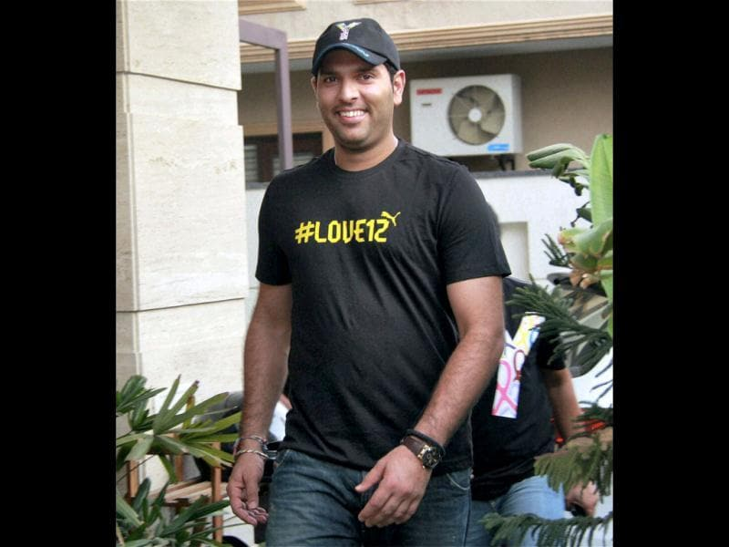 Cricketer Yuvraj Singh at his residence in Gurgaon. Singh has been picked in the 15-member squad for T20 matches against New Zealand and ICC T20 World Cup. PTI photo