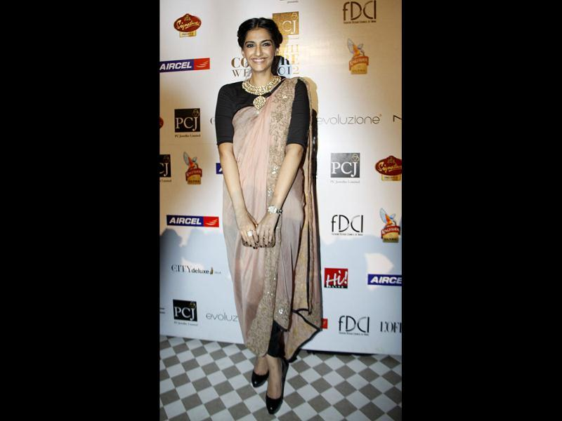Sonam Kapoor didn't walk the ramp but was there to cheer designer Anamika Khanna.