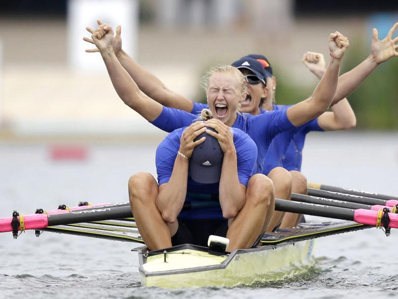 Yana Dementieva (front), Anastasiia Kozhenkova, Nataliya Dovgodko, and Kateryna Tarasenko of Ukraine celebrate after winning the women's quadruple sculls Final A at Eton Dorney during the London 2012 Olympic Games. Reuters/Natacha Pisarenko/Pool