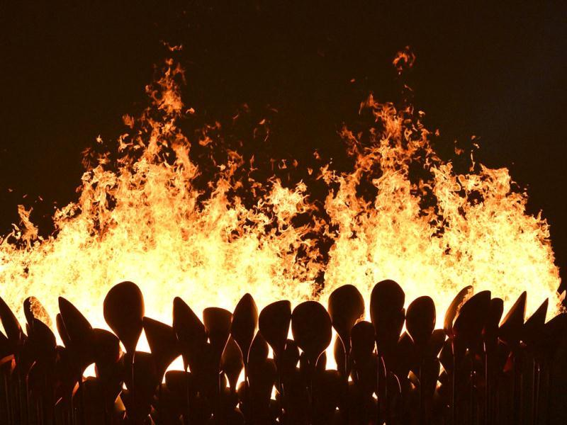 Flames leap from the cauldron during the opening ceremony of the London 2012 Olympic Games at the Olympic Stadium. Reuters/Toby Melville
