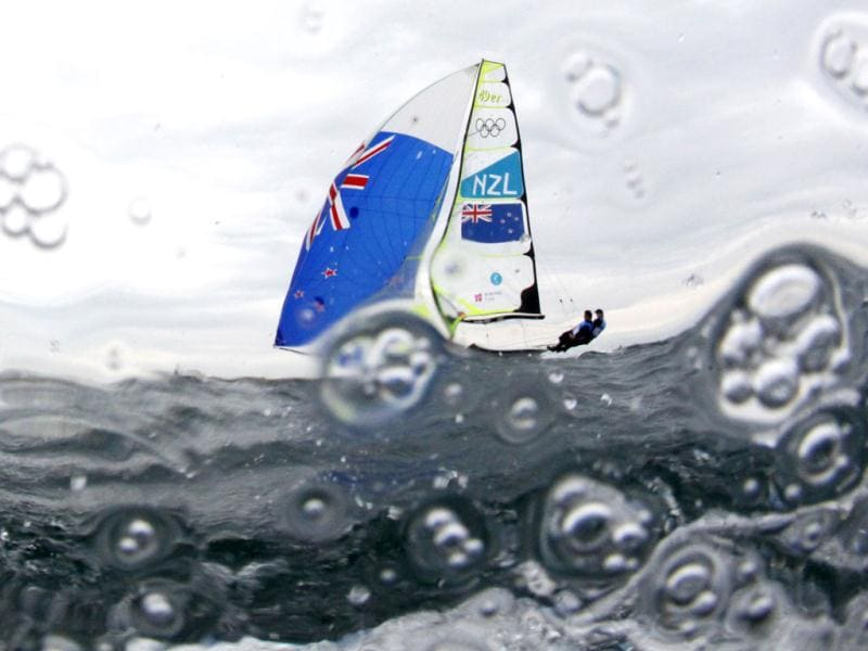 New Zealand's Peter Burling and Blair Tuke sail before the fifth race of the men's 49er sailing class at the London 2012 Olympic Games in Weymouth and Portland, southern England. Reuters/Pascal Lauener