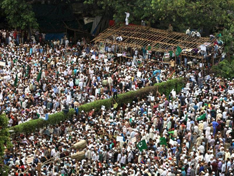Muslims participate in a protest over Assam riots in Mumbai. (PTI/Shashank Parade)
